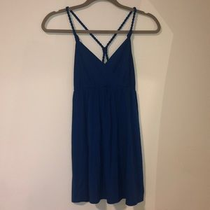 Rope strap blue tank top
